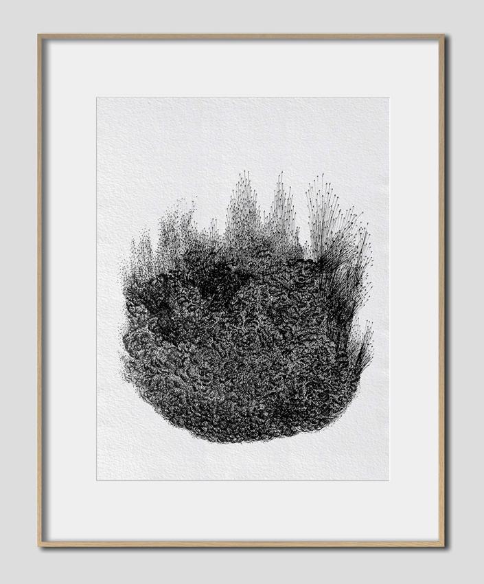 (In)sula I, Acte de Naissance (2015) Dessin rotring sur papier fibre 90g 29,7 x 42 cm, 1/1
